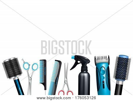 Hairdresser tools on white background including brushes and combs sprayer various scissors and trimmer vector illustration