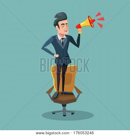 Cartoon Businessman Standing on Chair with Megaphone. Announcement. Vector illustration