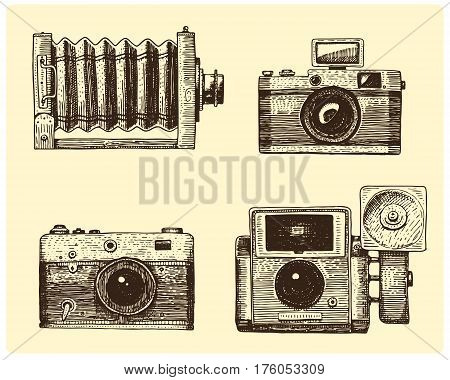 Photo camera set vintage, engraved hand drawn in sketch or wood cut style, old looking retro lens, isolated vector realistic illustration.