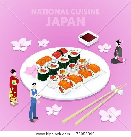 Isometric National Cuisine Japan with Sushi and Japanese People in Traditional Clothes. Vector 3d flat illustration