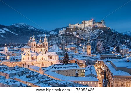 Beautiful View Of The Historic City Of Salzburg With Festung Hohensalzburg In Winter, Salzburger Lan