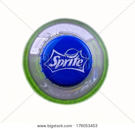 Chisinau Moldova February 28 2017: Sprite glass bottle isolated on white background. View from above