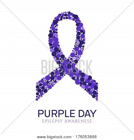 World epilepsy day poster with purple ribbon made of dots on white background.  Awareness solidarity day. Isolated vector illustration.