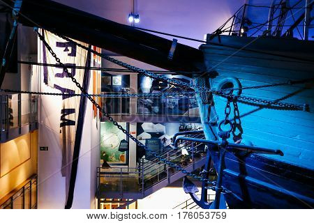 OSLO, NORWAY - NOVEMBER 23, 2016: The Polar Ship Fram at the Fram Museum. The ship was used by the Norwegian explorers in expeditions of the Arctic and Antarctic regions