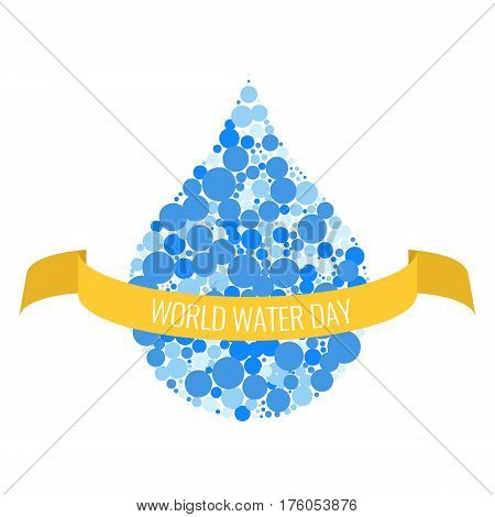 World water day poster with a drop of aqua made of blue dots and yellow ribbon on white background. Reserve protect nature concept. Vector illustration.