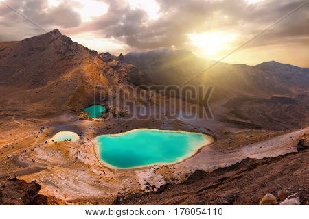 View at beautiful sunrise over Emerald lakes on Tongariro Crossing track, Tongariro National Park, New Zealand