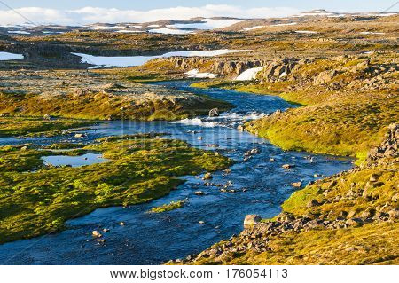 Glacial pools and rivers in the mountain area of the Western Fjords Peninsula, Iceland