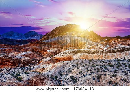 Amazing colors and shape of the rocks in Valley of Fire State Park at sunrise, Nevada, USA