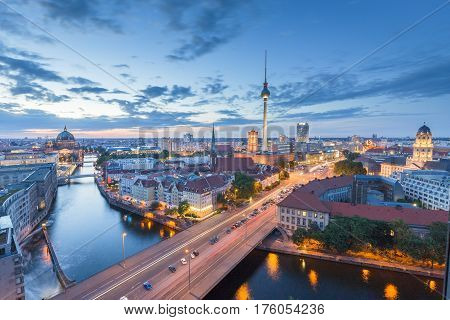 Berlin Skyline With Spree River At Night, Germany