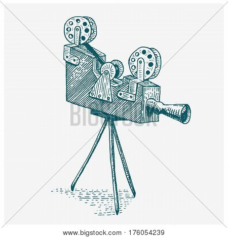 Photo movie or film camera vintage, engraved, hand drawn in sketch or wood cut style, old looking retro lens, isolated vector realistic illustration.