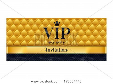 VIP party premium invitation card poster flyer. Black and golden design template. Quilted yellow pattern decorative background with black and golden ribbon.