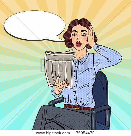 Pop Art Shocked Business Woman Reading a Newspaper. Bad News. Vector illustration