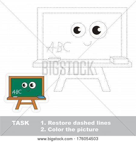 Restore dashed line and color the picture, the educational vector game for kids with easy game level, simple kid tracing educational worksheet with Green Board