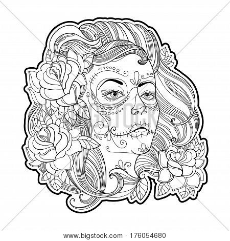 Girl face with Sugar skull or Calavera Catrina makeup and roses isolated on white. Vector illustration for Mexican Day of the dead or Dia de los Muertos. Design for coloring book in contour style.