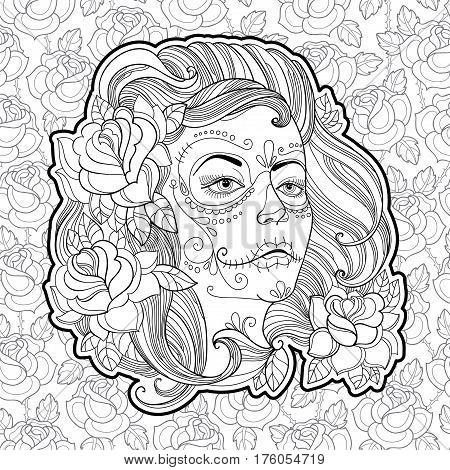 Woman face with Sugar skull or Calavera Catrina makeup on the background with roses. Vector illustration for Mexican Day of the dead or Dia de los Muertos. Design for coloring book in contour style.