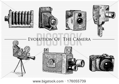 evolution of the photo, video, film, movie camera from first till now vintage, engraved hand drawn in sketch or wood cut style, old looking retro lens, isolated vector realistic illustration.