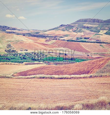 Stubble Fields on the Hills of Sicily Instagram Effect