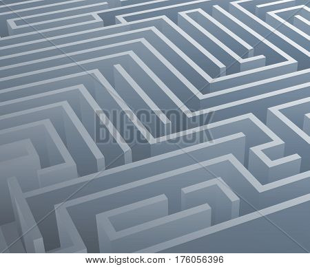 Intricacy labyrinth maze isometric background 3d design template vector illustration