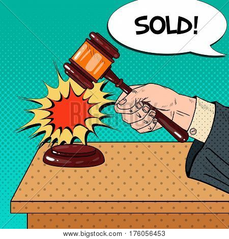 Pop Art Hand Hitting Wooden Gavel in a Auction. Vector illustration