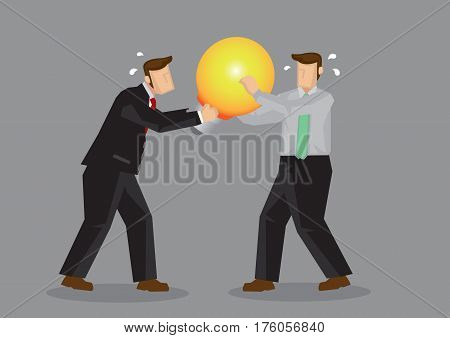 Two cartoon businessmen fighting over a light bulb representing business idea. Creative vector illustration on concept for intellectual property rights.