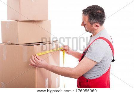 Mover Man Measuring One Big Cardboard Box