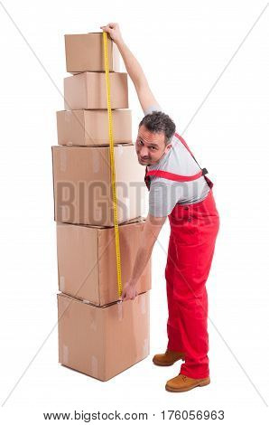 Full Body Of Mover Man Measuring Bunch Of Boxes