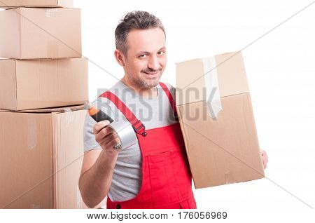 Mover Man Holding Box Cutter And Duct Tape