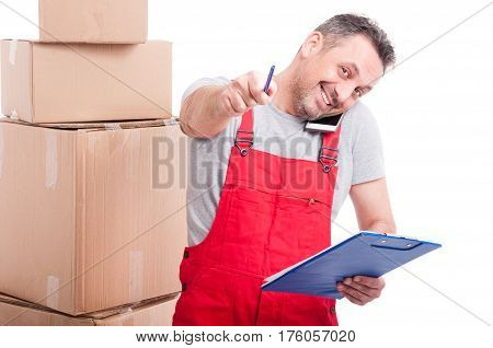 Smiling Mover Guy Holding Clipboard Pen And Phone