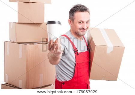 Mover Man Holding Box And Showing Coffee