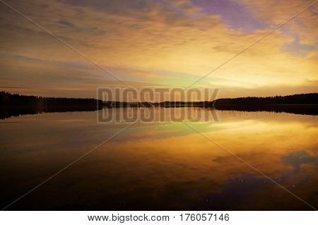 Background Image With Amazing Afterglow And Night Lake View