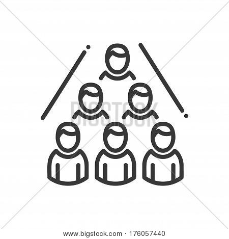 Business Network- vector modern line design illustrative icon. Suffiecient representation of chain network consisting of five people, compartmentalization.