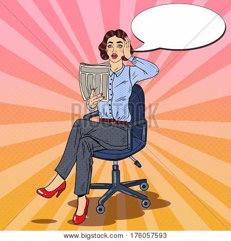 Pop Art Surprised Business Woman Reading a Newspaper. Bad News. Vector illustration