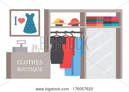 Clothing shop store. Clothes showcase.Vector shopping illustration
