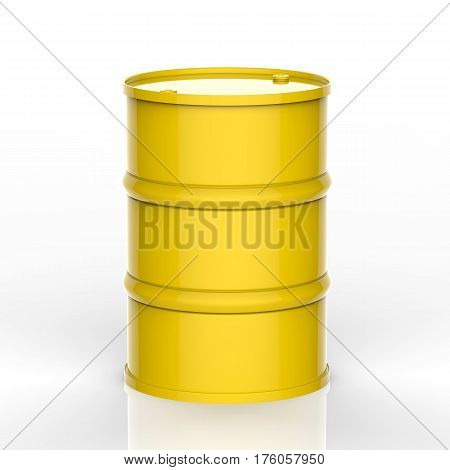 3d rendering yellow barrel on white background