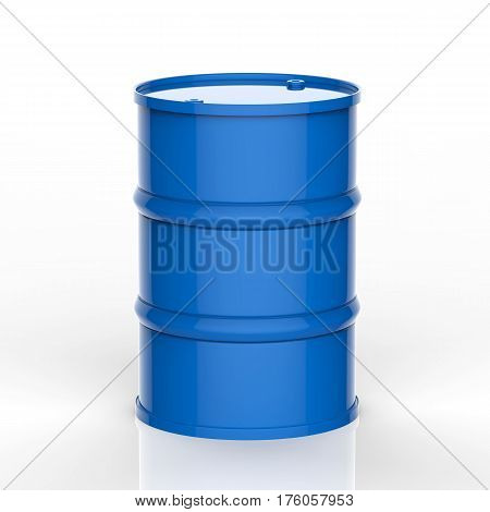 3d rendering blue barrel on white background