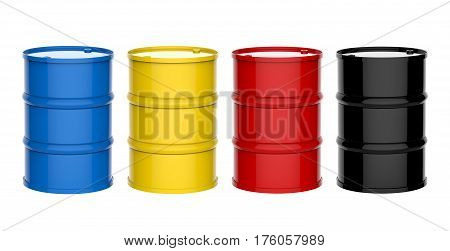 four colorful barrels isolated on white background