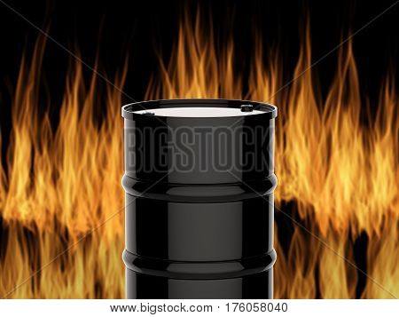 3d rendering black barrel on flame background