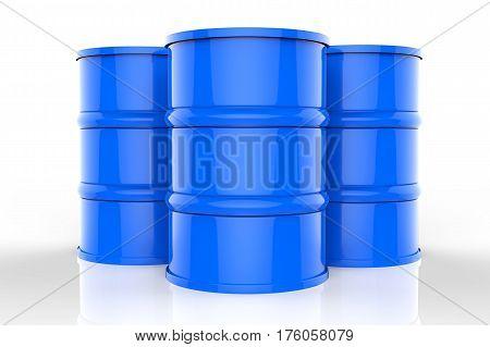 Group Of Blue Oil Barrels
