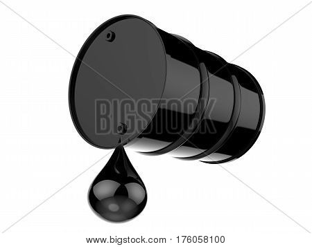 3d rendering droplet of crude oil with black barrel isolated on white