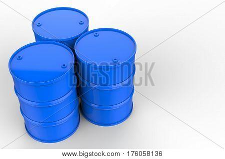 3d rendering group of blue oil barrels