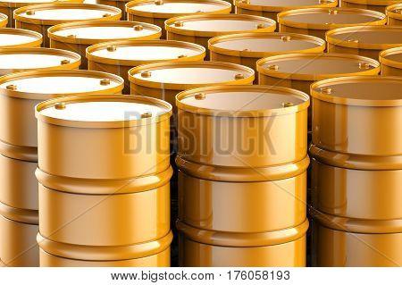 3d rendering bronze barrels or oil barrels background
