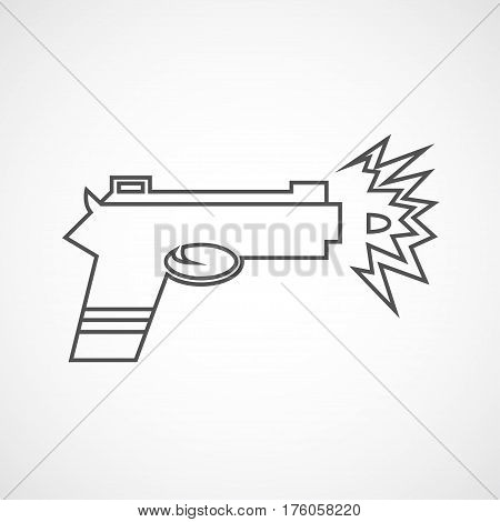 Vector flat line gun icon. Isolated gun icon for logo web site design app UI. Flat line weapon illustration for posters cards book cover flyers banner web game designs.