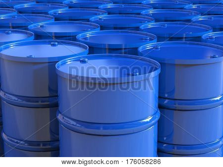 3d rendering group of blue barrels or oil barrels