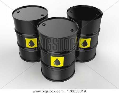 Group Of Crude Oil Barrels With Yellow Label