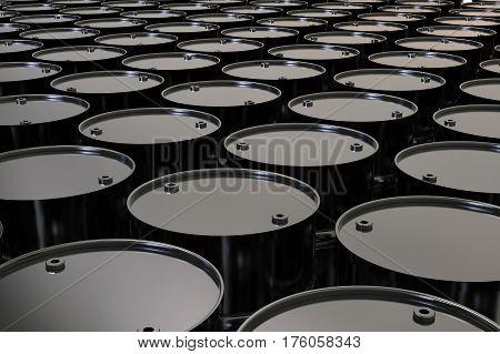 3d rendering black barrels in a row