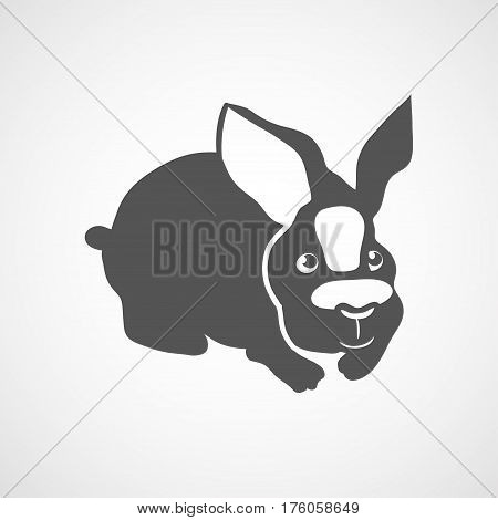 Vector flat rabbit icon. Isolated. Black silhouette rabbit for polygraphy web design logo app UI. Rabbit icon for posters greeting cards book cover flyers banner web game designs.