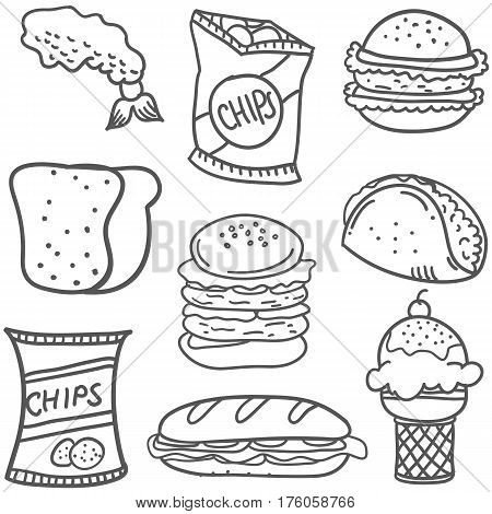 Doodle of food collection stock vector illustration