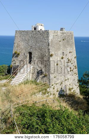 Old watchtower near Peschici on Puglia Italy