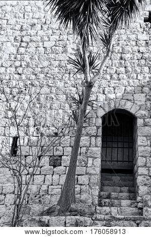 Remnants of Crusader castle in Israel. The Yehiam Fortress National Park of Israel. Black and White Picture