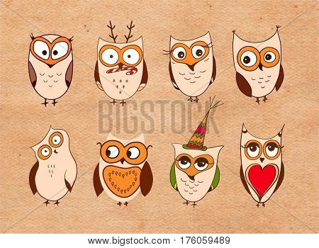 Set of cute owls. Vector cartoon owls and owlets birds isolated on white background